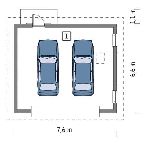 Rzut parteru POW. 42,4 m²