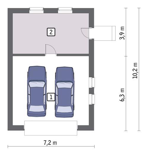Rzut parteru POW. 58,4 m²