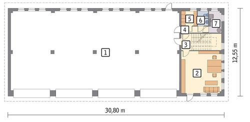 Rzut parteru POW. 331,6 m²