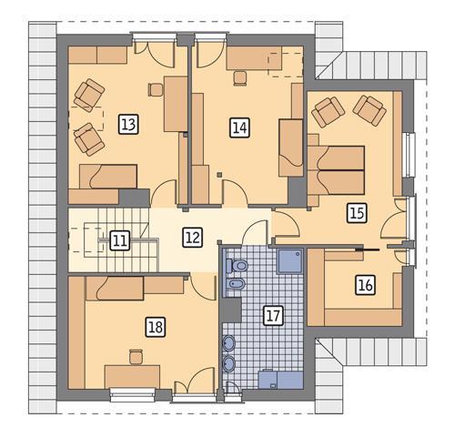 Rzut poddasza POW. 108,7 m²
