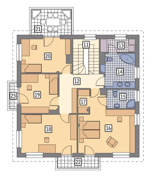Rzut piętra POW. 121,6 m²