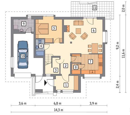 Rzut parteru POW. 104,4 m²