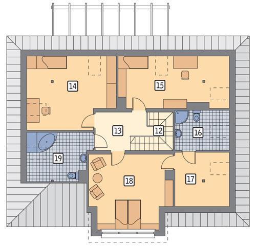 Rzut poddasza POW. 115,9 m²