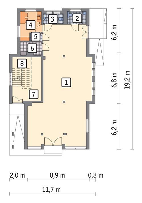 Rzut parteru POW. 166,0 m²