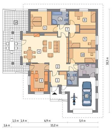 RZUT PARTERU POW. 136,3 m²
