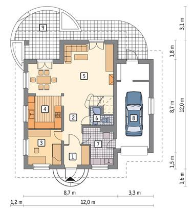 RZUT PARTERU POW. 70,3 m²