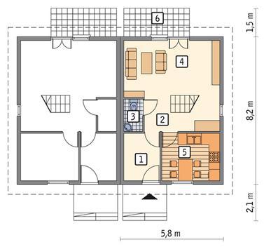 RZUT PARTERU POW. 33,7 m²